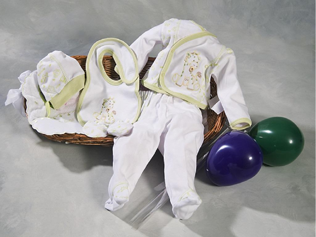cesta con pijama, gorro, manoplas, baberos, envuelta con celofan y lazada y entregada con globos