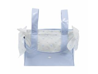 Colección Edén, complementos canastilla bebé: neceser, funda silla bebé, saco, sombrilla,